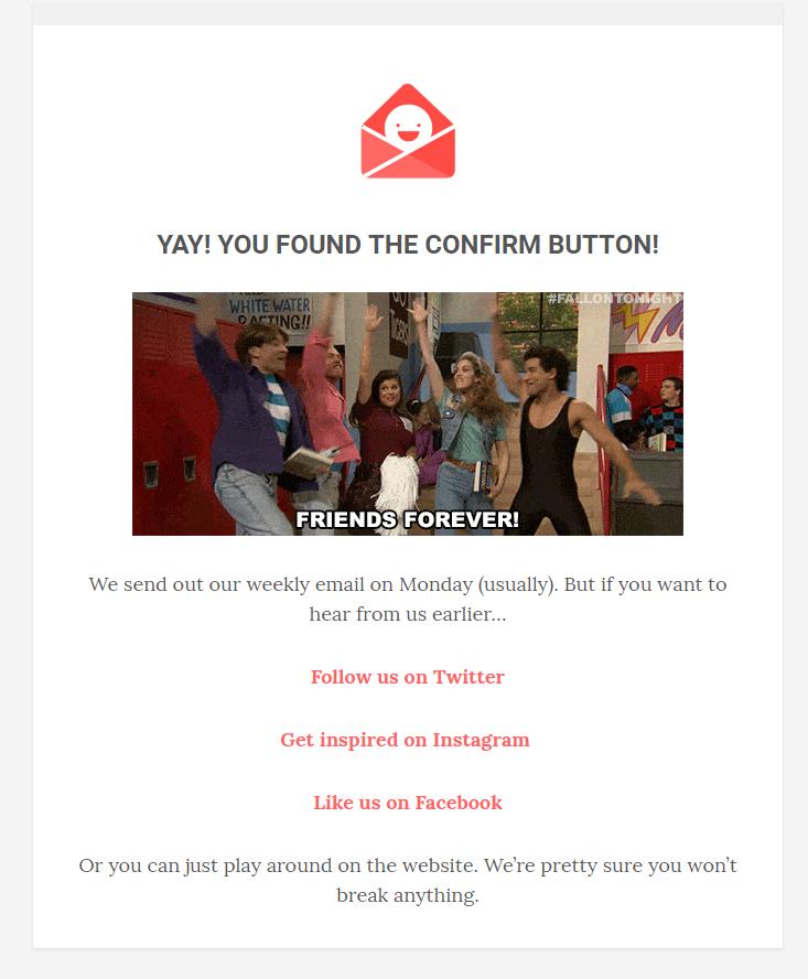Exemple d'un e-mailing épuré