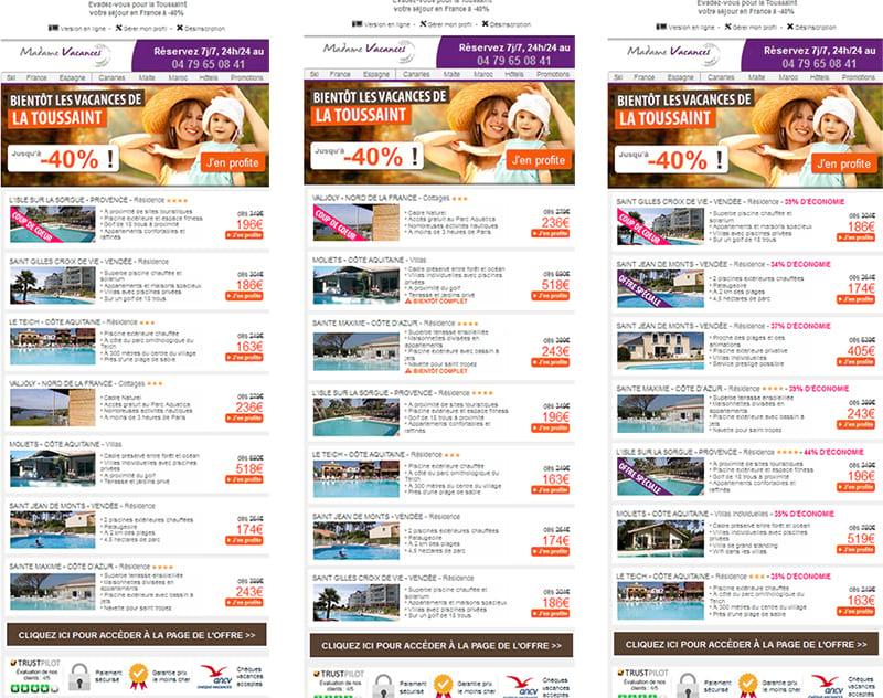 Campagnes d'A/B Testing de Madame Vacances avec test de modification de l'objet et du positionnement des offres « coup de cœur » et « offres spéciales »