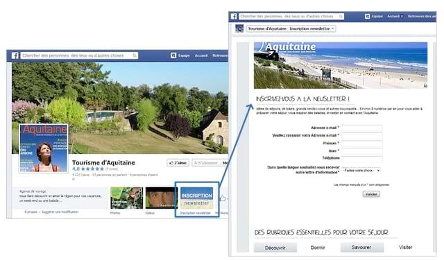 Exemple de promotion newsletter sur profil Facebook avec intégration d'un formulaire d'inscription
