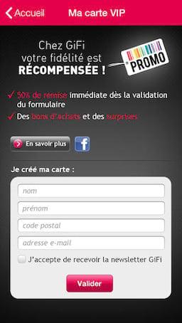 Exemple d'intégration d'un formulaire d'inscription à la newsletter sur l'application mobile VIP de Gifi