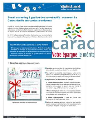 E-mail marketing & gestion des non-réactifs : le cas La Carac