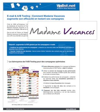 E-mail & A/B Testing : le cas Madame Vacances