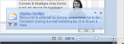 Outlook est une messagerie particulière qui a mis en place un système de pop-up à l'arrivée des messages