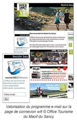 Valorisation du programme e-mail sur la page de connexion wifi © Office Tourisme du Macif du Sancy