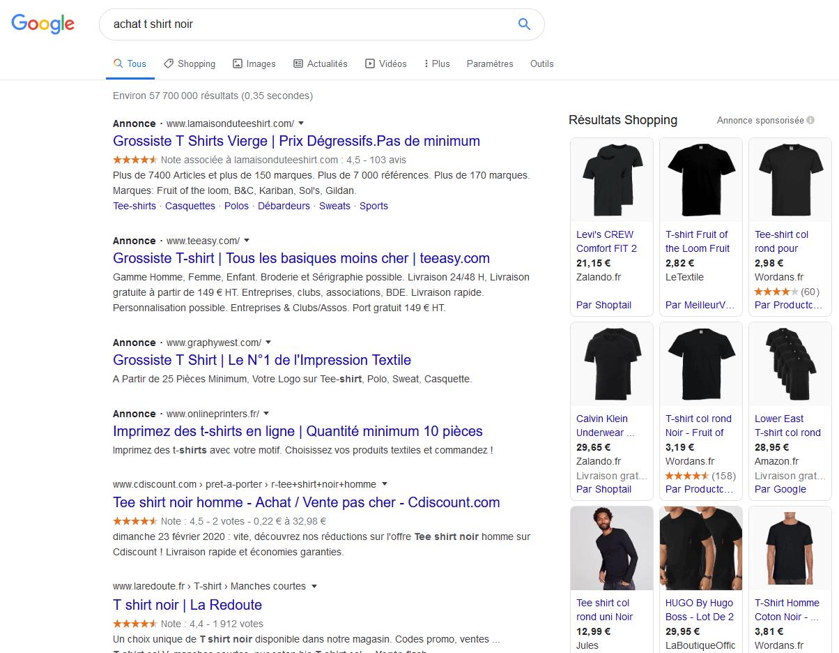 """Exemple de référencement payant suite à la requête """"achat t shirt noir"""""""