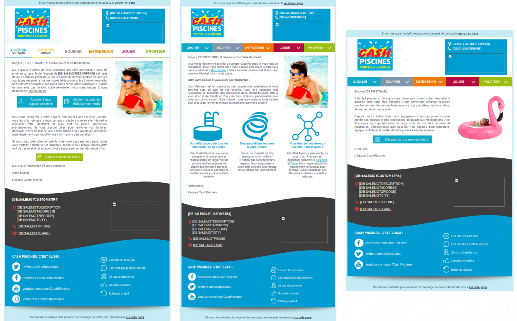 Exemples d'emailings Cash Piscines