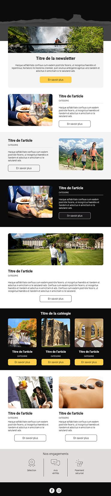 Exemple d'un emailing d'un de nos clients du secteur touristique