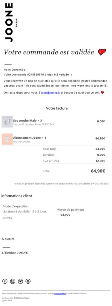 Exemple d'un email transactionnel