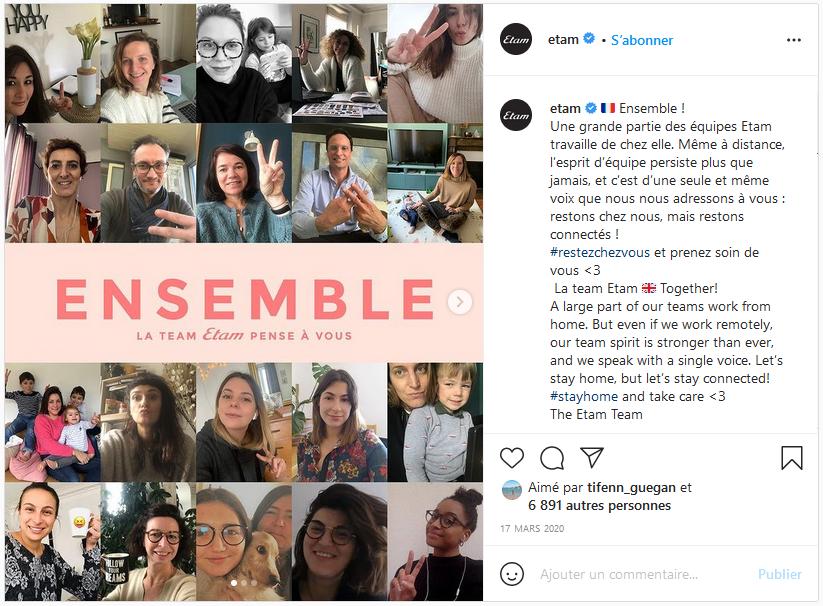 Etam Post Instagram du 17/03/2020