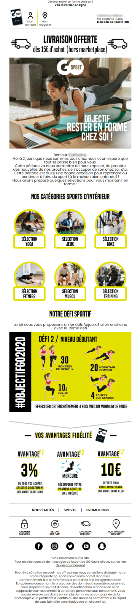Go Sport Email du 19/03/2020