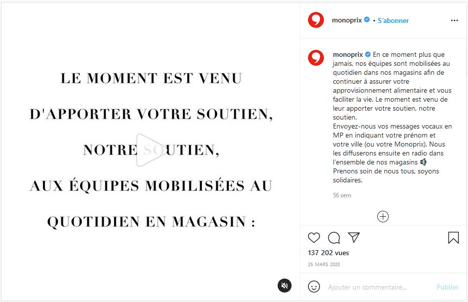Monoprix - Post Instagram du 25/03/2020