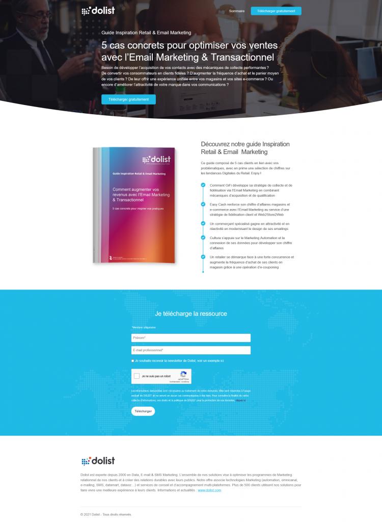 Exemple de landing page Dolist