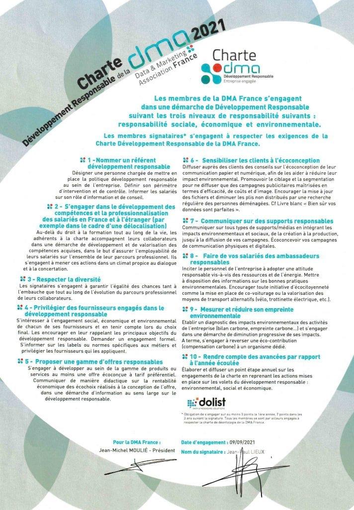 Dolist signataire de la Charte DMA France Développement Responsable 2021
